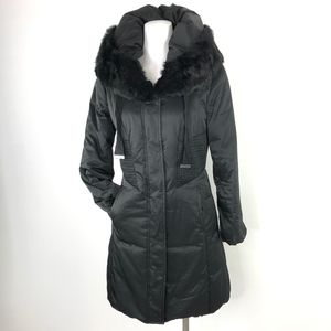 Elie Tahari   Down Jacket Coat Rabbit Fur Trim